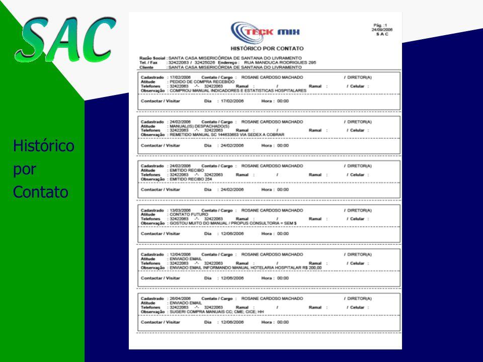 Emissão por período Emissão por Vendedor Informações do Contato Espaço disponível para anotações Agenda de Compromissos