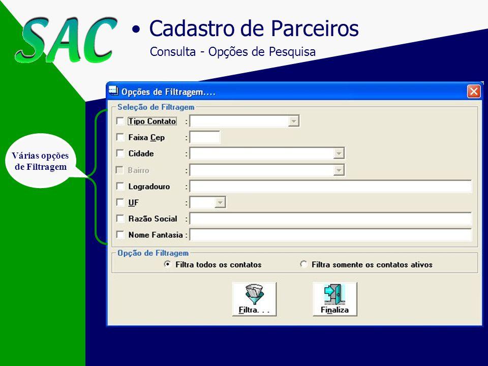 Cadastro de Contatos/Histórico Histórico dos Contatos (3ª tela) Cadastramento do Contato/Visita Data do Contato Data/Hora do próximo contato Nome da p