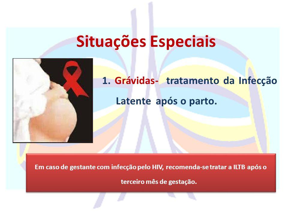 1. Grávidas- tratamento da Infecção Latente após o parto. Em caso de gestante com infecção pelo HIV, recomenda-se tratar a ILTB após o terceiro mês de