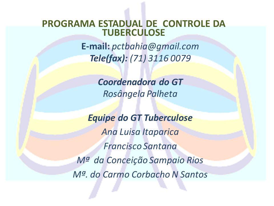 PROGRAMA ESTADUAL DE CONTROLE DA TUBERCULOSE E-mail: pctbahia@gmail.com Tele(fax): (71) 3116 0079 Coordenadora do GT Rosângela Palheta Equipe do GT Tu