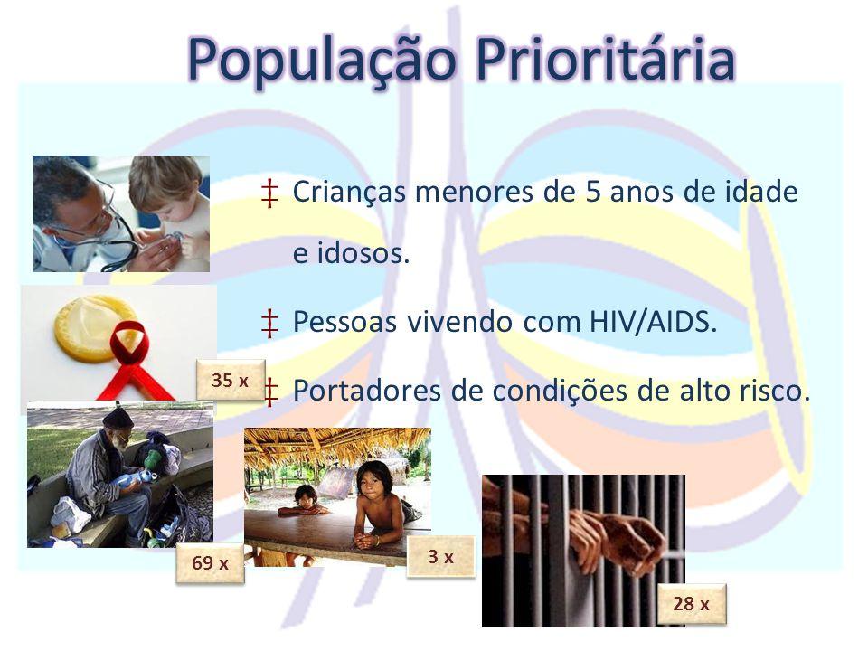 ‡Crianças menores de 5 anos de idade e idosos. ‡Pessoas vivendo com HIV/AIDS. ‡Portadores de condições de alto risco. 35 x 69 x 3 x 28 x