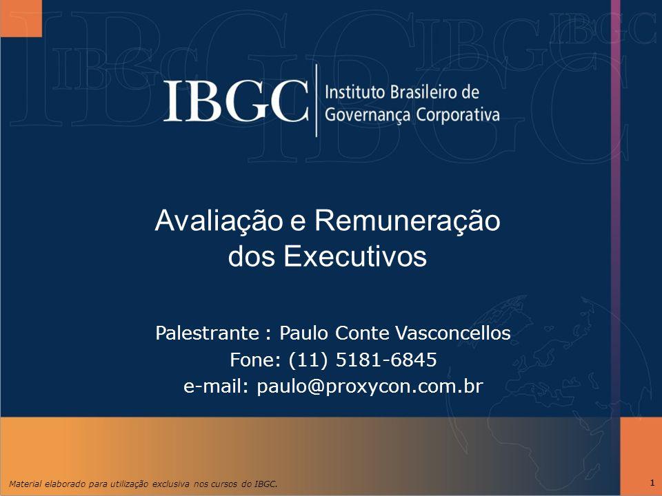 Material elaborado para utilização exclusiva nos cursos do IBGC. 11 Palestrante : Paulo Conte Vasconcellos Fone: (11) 5181-6845 e-mail: paulo@proxycon