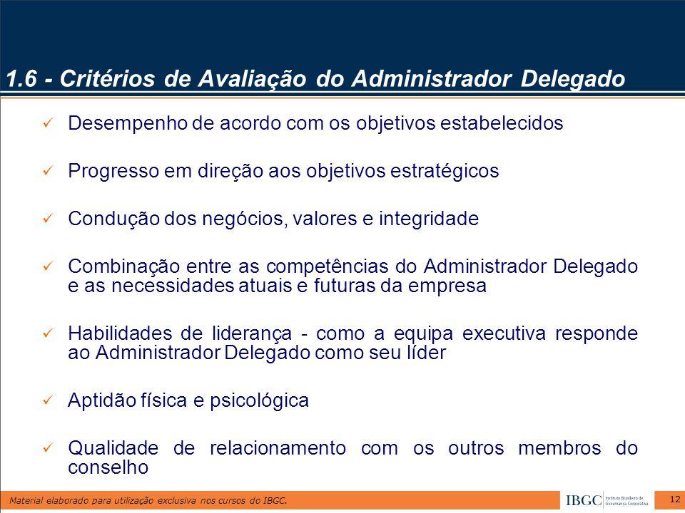 Material elaborado para utilização exclusiva nos cursos do IBGC. 12 1.6 - Critérios de Avaliação do Administrador Delegado Desempenho de acordo com os