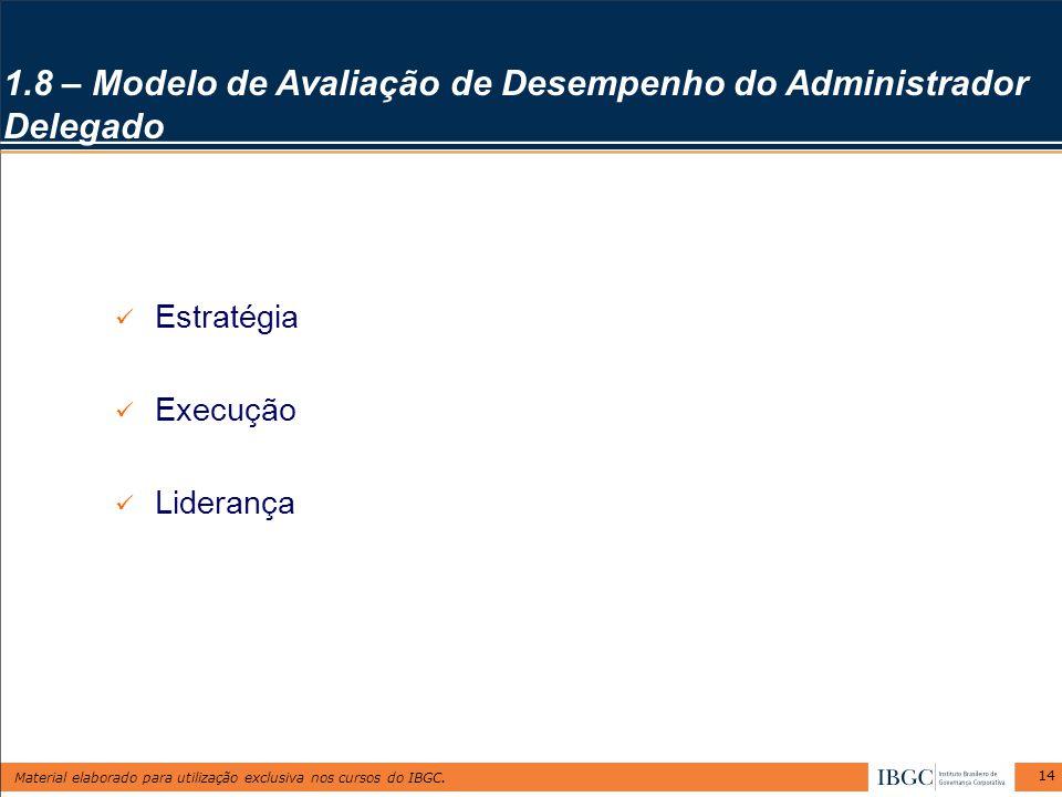 Material elaborado para utilização exclusiva nos cursos do IBGC. 14 1.8 – Modelo de Avaliação de Desempenho do Administrador Delegado Estratégia Execu