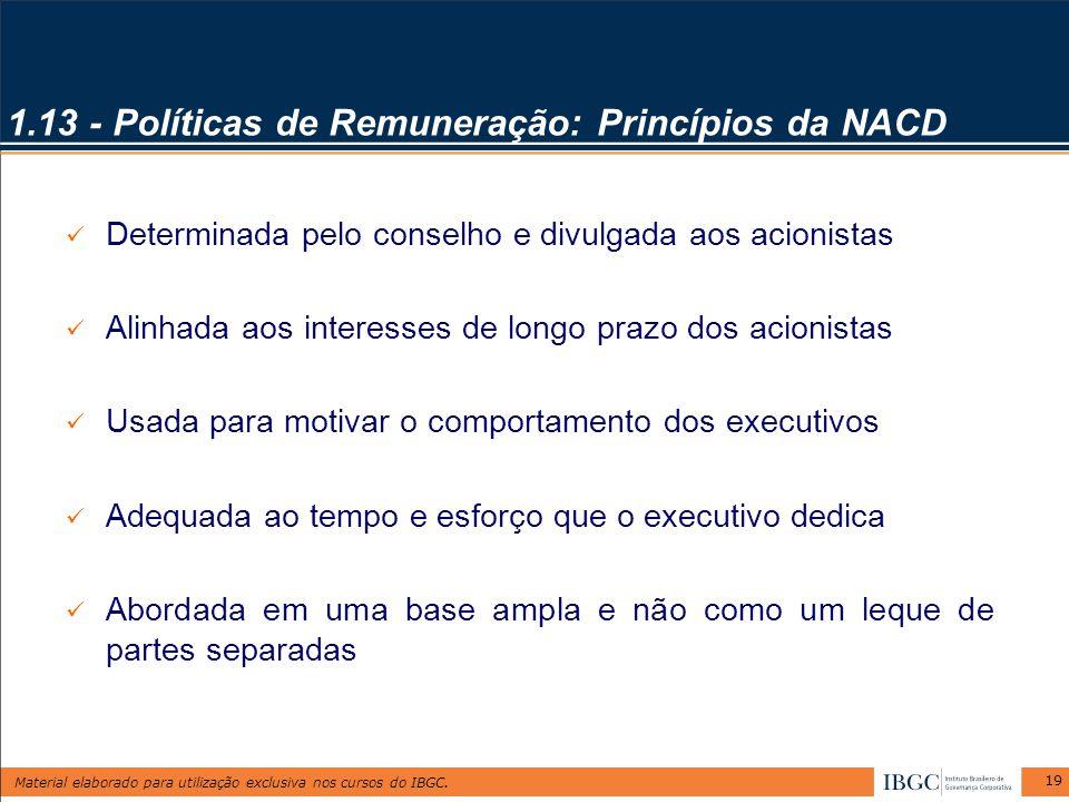 Material elaborado para utilização exclusiva nos cursos do IBGC. 19 Determinada pelo conselho e divulgada aos acionistas Alinhada aos interesses de lo