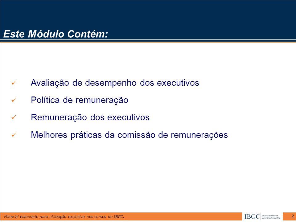 Material elaborado para utilização exclusiva nos cursos do IBGC. 22 Este Módulo Contém: Avaliação de desempenho dos executivos Política de remuneração