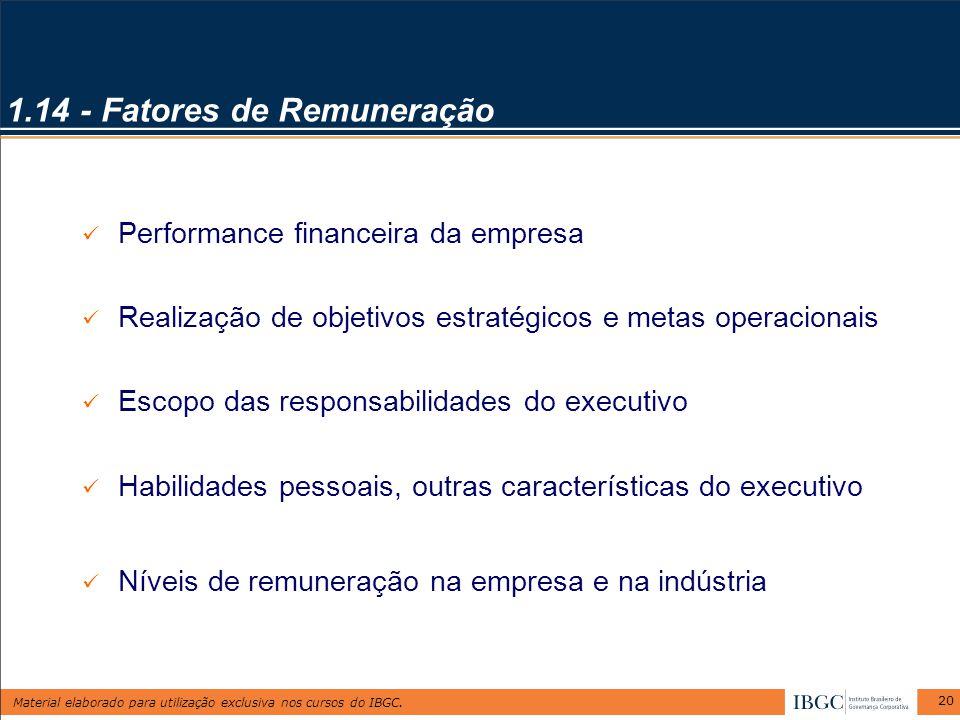 Material elaborado para utilização exclusiva nos cursos do IBGC. 20 1.14 - Fatores de Remuneração Performance financeira da empresa Realização de obje