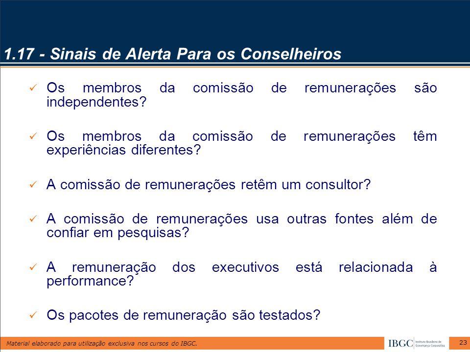Material elaborado para utilização exclusiva nos cursos do IBGC. 23 1.17 - Sinais de Alerta Para os Conselheiros Os membros da comissão de remuneraçõe