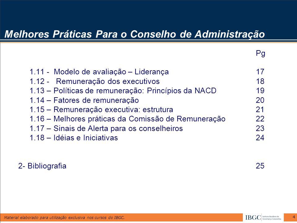 Material elaborado para utilização exclusiva nos cursos do IBGC. 4 Melhores Práticas Para o Conselho de Administração Pg 1.11 - Modelo de avaliação –