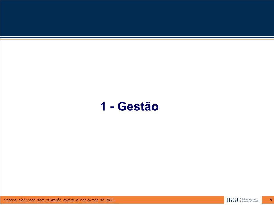 Material elaborado para utilização exclusiva nos cursos do IBGC. 66 1 - Gestão