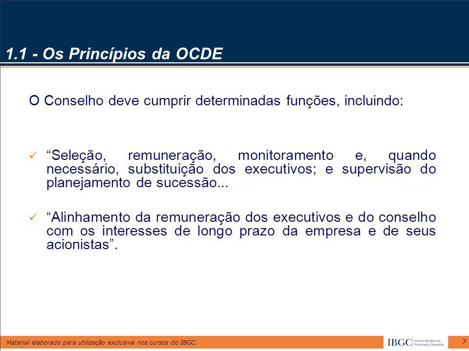 Material elaborado para utilização exclusiva nos cursos do IBGC. 7 1.1 - Os Princípios da OCDE O Conselho deve cumprir determinadas funções, incluindo