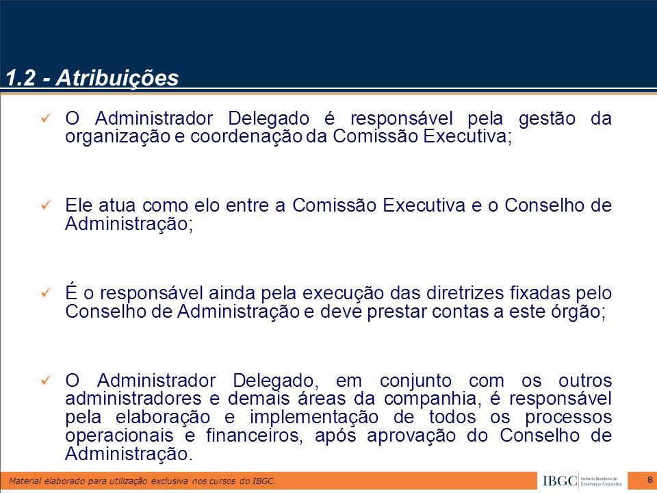 Material elaborado para utilização exclusiva nos cursos do IBGC. 88 O Administrador Delegado é responsável pela gestão da organização e coordenação da
