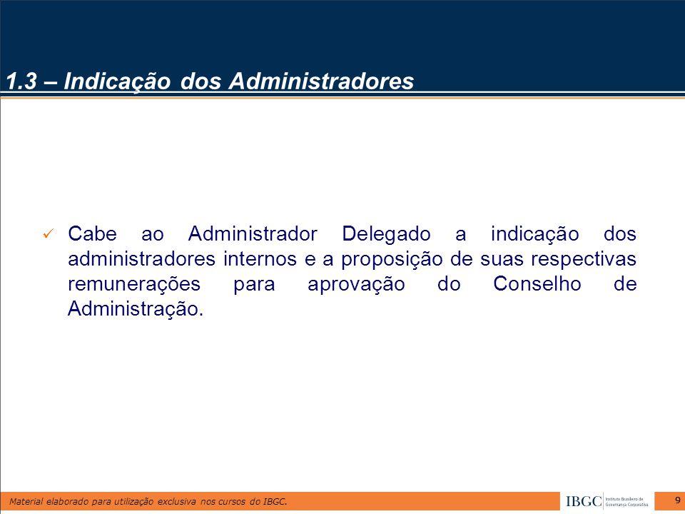 Material elaborado para utilização exclusiva nos cursos do IBGC. 99 Cabe ao Administrador Delegado a indicação dos administradores internos e a propos