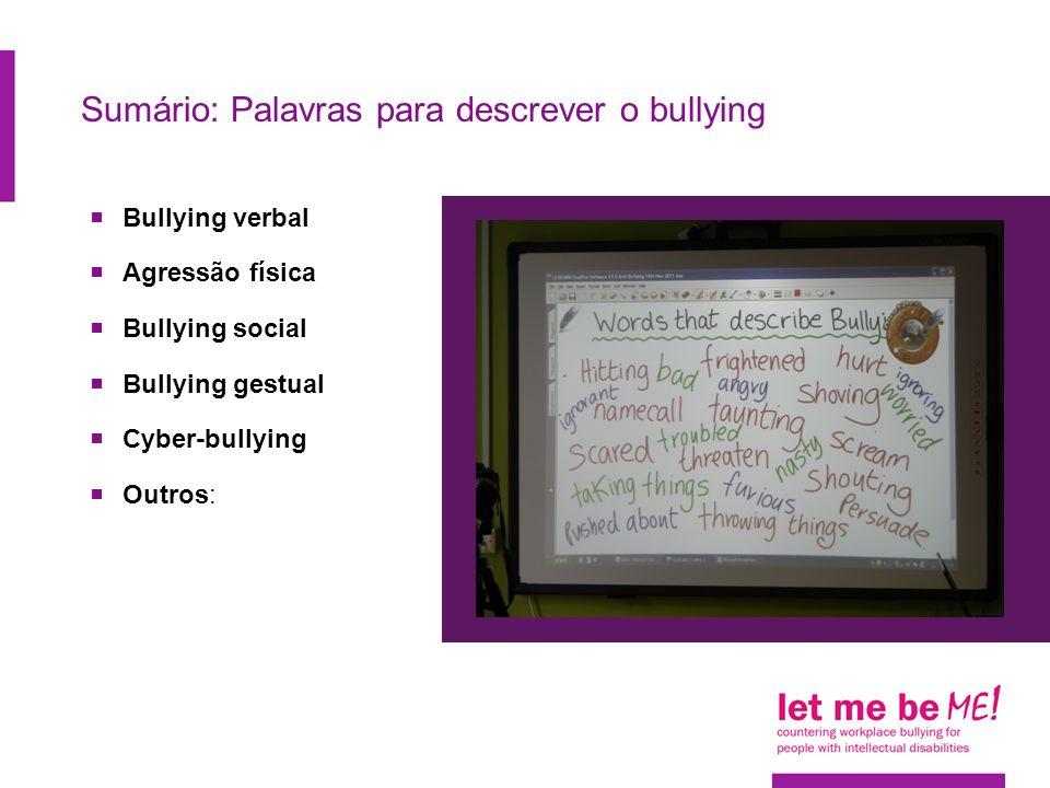 Sumário: Palavras para descrever o bullying  Bullying verbal  Agressão física  Bullying social  Bullying gestual  Cyber-bullying  Outros: