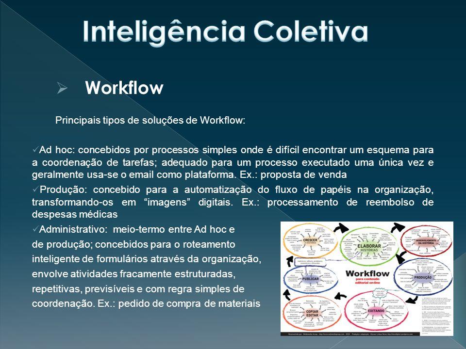  Workflow Principais tipos de soluções de Workflow: Ad hoc: concebidos por processos simples onde é difícil encontrar um esquema para a coordenação de tarefas; adequado para um processo executado uma única vez e geralmente usa-se o email como plataforma.
