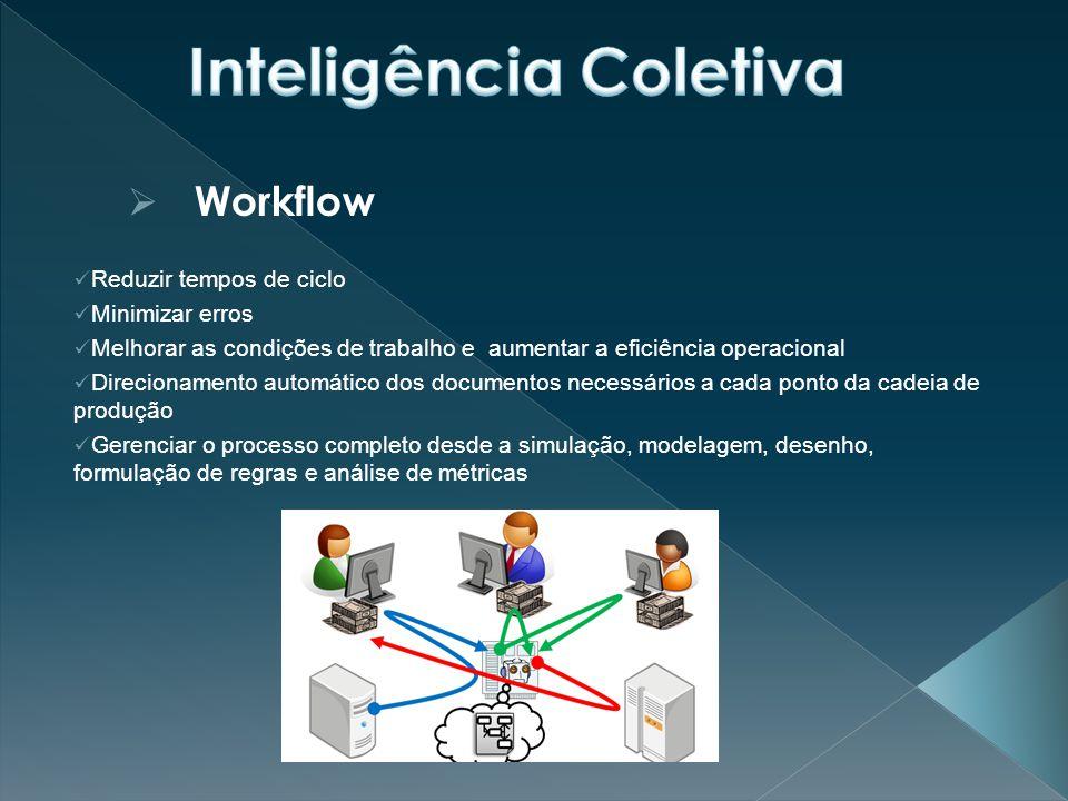  Workflow Reduzir tempos de ciclo Minimizar erros Melhorar as condições de trabalho e aumentar a eficiência operacional Direcionamento automático dos documentos necessários a cada ponto da cadeia de produção Gerenciar o processo completo desde a simulação, modelagem, desenho, formulação de regras e análise de métricas