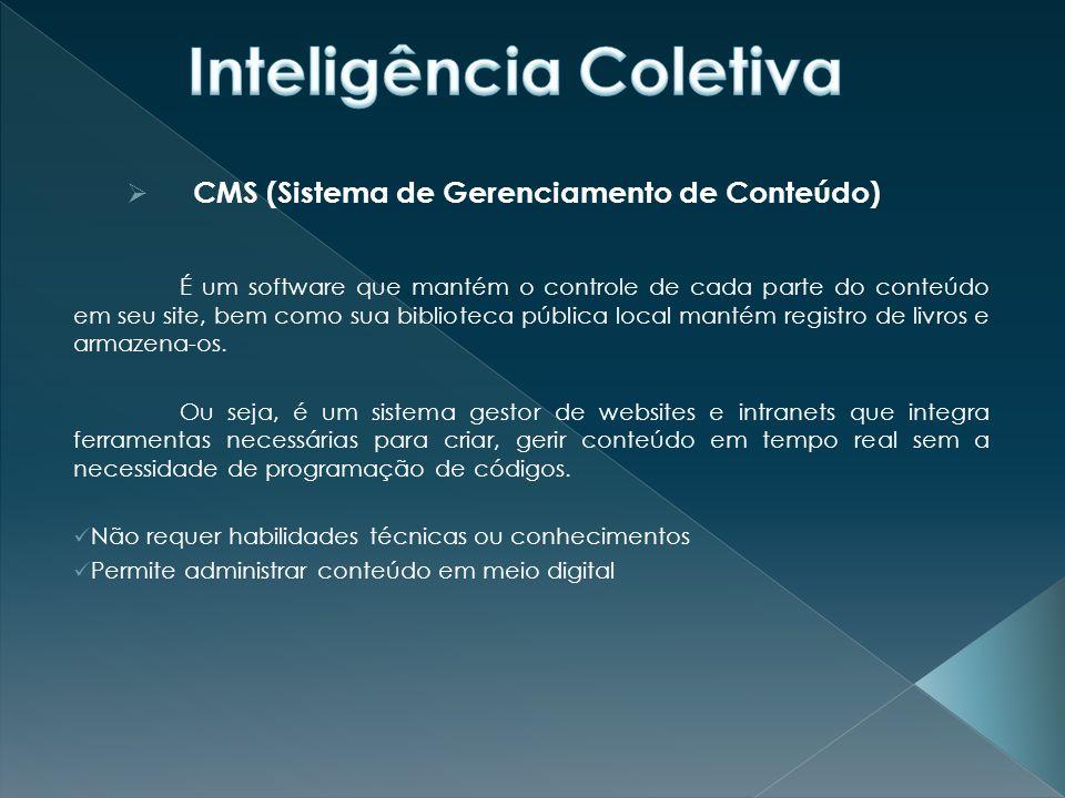  CMS (Sistema de Gerenciamento de Conteúdo) É um software que mantém o controle de cada parte do conteúdo em seu site, bem como sua biblioteca pública local mantém registro de livros e armazena-os.