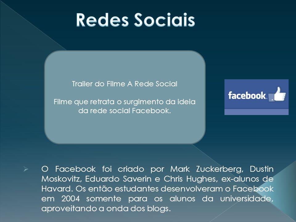  O Facebook foi criado por Mark Zuckerberg, Dustin Moskovitz, Eduardo Saverin e Chris Hughes, ex-alunos de Havard.