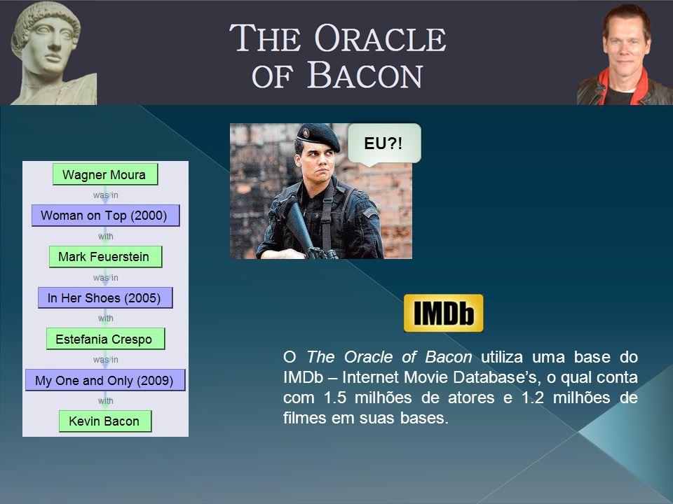 EU?! O The Oracle of Bacon utiliza uma base do IMDb – Internet Movie Database's, o qual conta com 1.5 milhões de atores e 1.2 milhões de filmes em sua