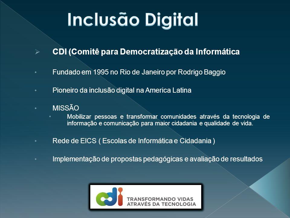  CDI (Comitê para Democratização da Informática Fundado em 1995 no Rio de Janeiro por Rodrigo Baggio Pioneiro da inclusão digital na America Latina MISSÃO Mobilizar pessoas e transformar comunidades através da tecnologia de informação e comunicação para maior cidadania e qualidade de vida.