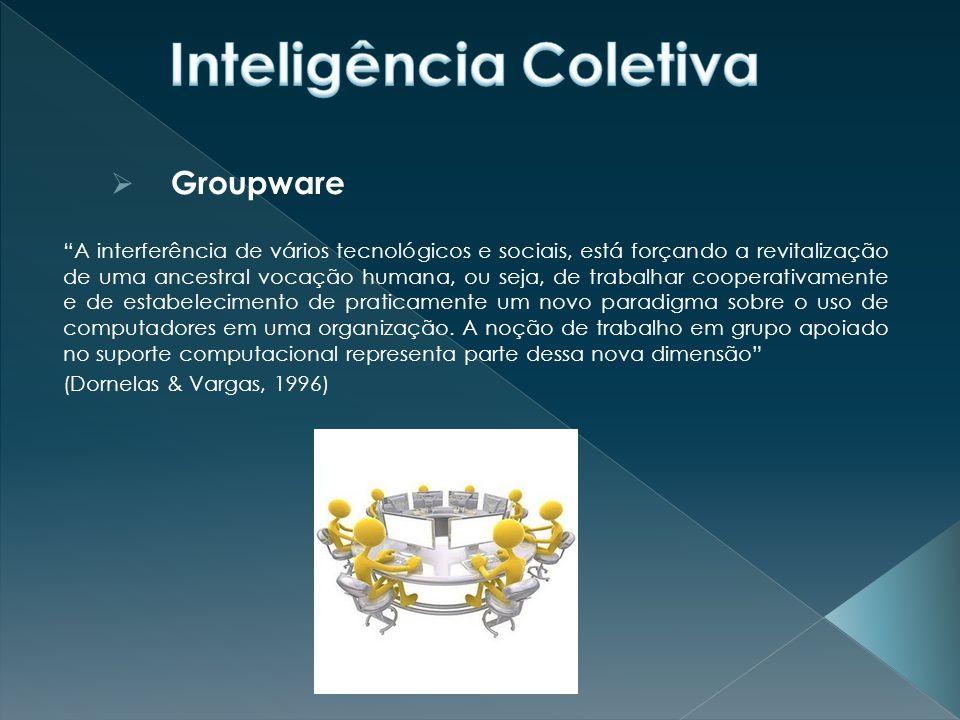  Groupware É uma tecnologia que integra sistemas de computação e facilidades de comunicação e que oferece suporte às atividades de grupos engajados em alcançar um objetivo comum. (Chen e Liou, 1991) Group decision support systems (Coleman, 1995).