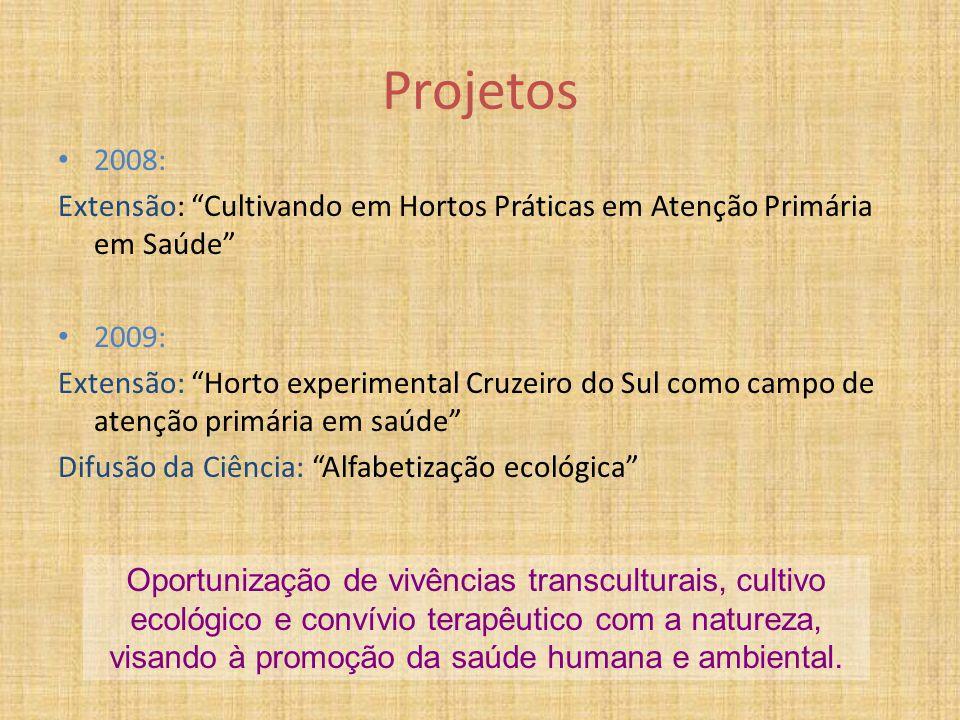 """Projetos 2008: Extensão: """"Cultivando em Hortos Práticas em Atenção Primária em Saúde"""" 2009: Extensão: """"Horto experimental Cruzeiro do Sul como campo d"""