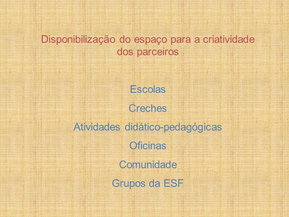 Disponibilização do espaço para a criatividade dos parceiros Escolas Creches Atividades didático-pedagógicas Oficinas Comunidade Grupos da ESF