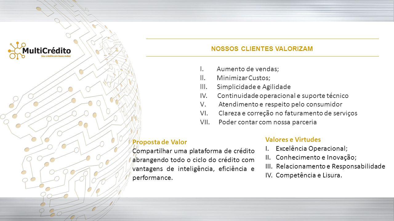 l.Aumento de vendas; ll.Minimizar Custos; lll. Simplicidade e Agilidade IV. Continuidade operacional e suporte técnico V.Atendimento e respeito pelo c
