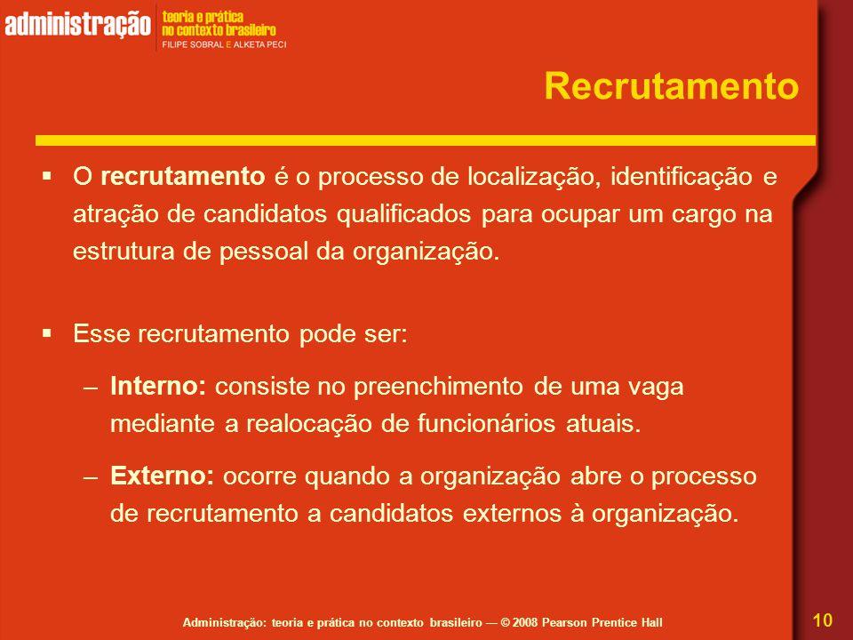 Administração: teoria e prática no contexto brasileiro — © 2008 Pearson Prentice Hall Recrutamento  O recrutamento é o processo de localização, ident