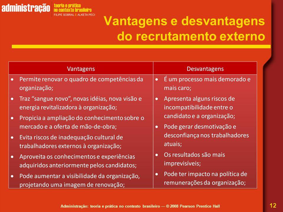 Administração: teoria e prática no contexto brasileiro — © 2008 Pearson Prentice Hall Vantagens e desvantagens do recrutamento externo 12
