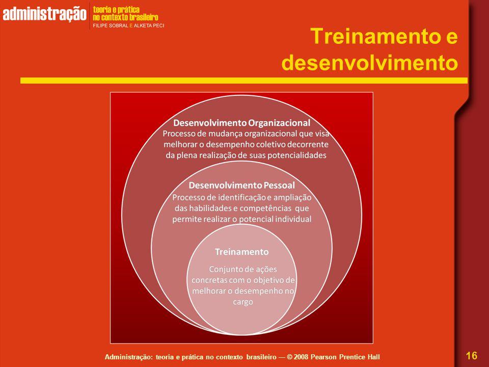 Administração: teoria e prática no contexto brasileiro — © 2008 Pearson Prentice Hall Treinamento e desenvolvimento 16