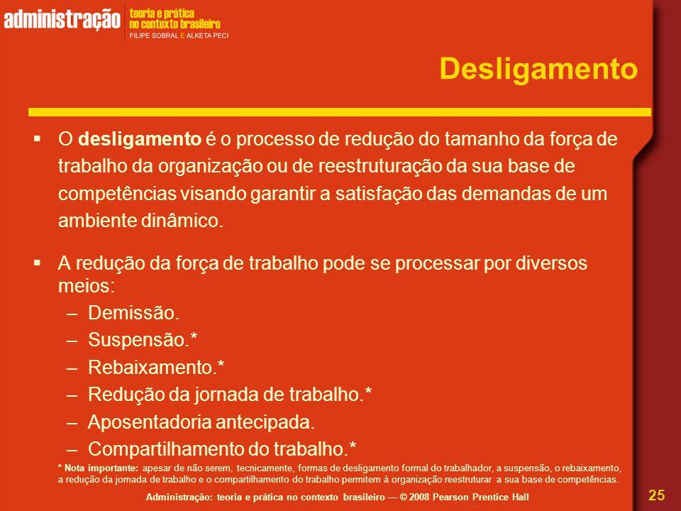 Administração: teoria e prática no contexto brasileiro — © 2008 Pearson Prentice Hall Desligamento  O desligamento é o processo de redução do tamanho