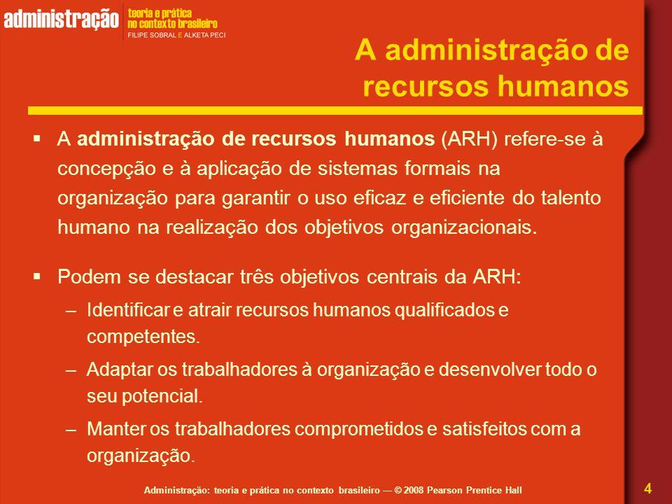 Administração: teoria e prática no contexto brasileiro — © 2008 Pearson Prentice Hall A administração de recursos humanos  A administração de recurso