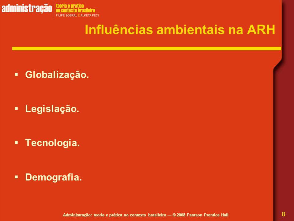 Administração: teoria e prática no contexto brasileiro — © 2008 Pearson Prentice Hall Influências ambientais na ARH  Globalização.  Legislação.  Te