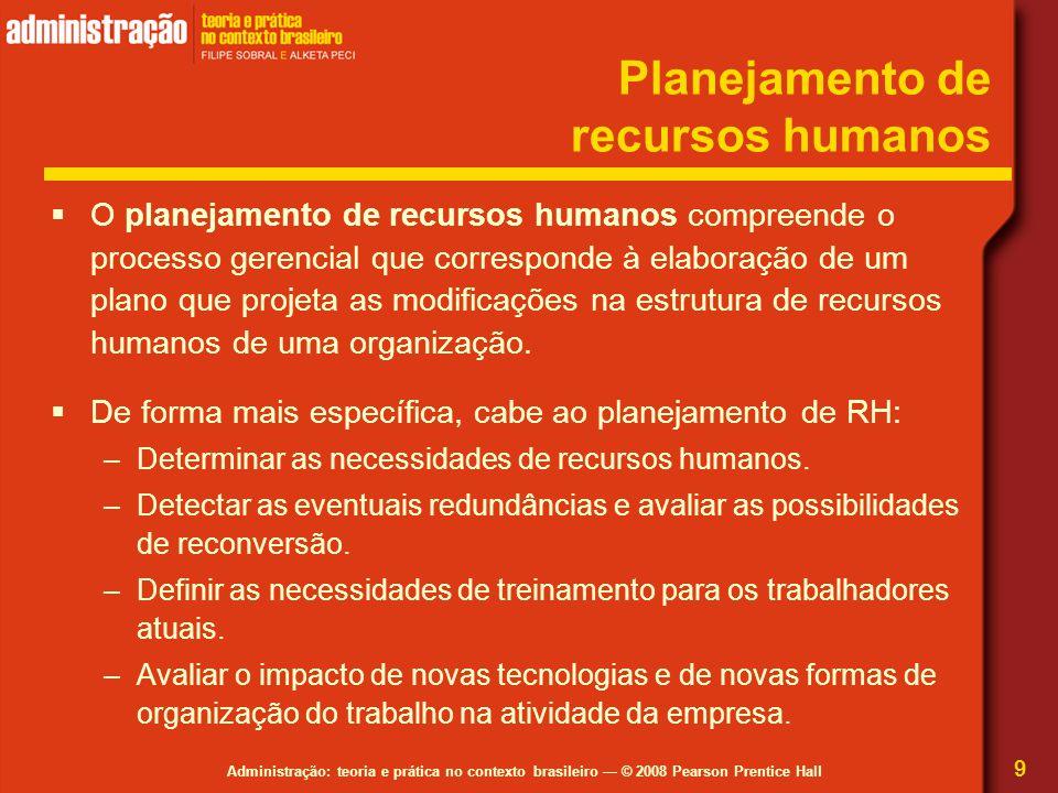 Administração: teoria e prática no contexto brasileiro — © 2008 Pearson Prentice Hall Planejamento de recursos humanos  O planejamento de recursos hu