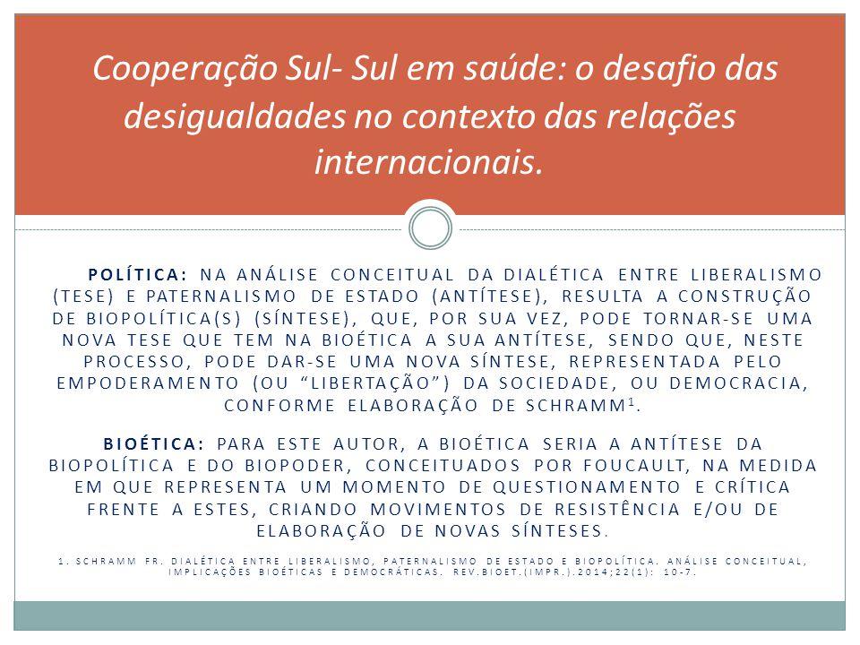 POLÍTICA: NA ANÁLISE CONCEITUAL DA DIALÉTICA ENTRE LIBERALISMO (TESE) E PATERNALISMO DE ESTADO (ANTÍTESE), RESULTA A CONSTRUÇÃO DE BIOPOLÍTICA(S) (SÍNTESE), QUE, POR SUA VEZ, PODE TORNAR-SE UMA NOVA TESE QUE TEM NA BIOÉTICA A SUA ANTÍTESE, SENDO QUE, NESTE PROCESSO, PODE DAR-SE UMA NOVA SÍNTESE, REPRESENTADA PELO EMPODERAMENTO (OU LIBERTAÇÃO ) DA SOCIEDADE, OU DEMOCRACIA, CONFORME ELABORAÇÃO DE SCHRAMM 1.