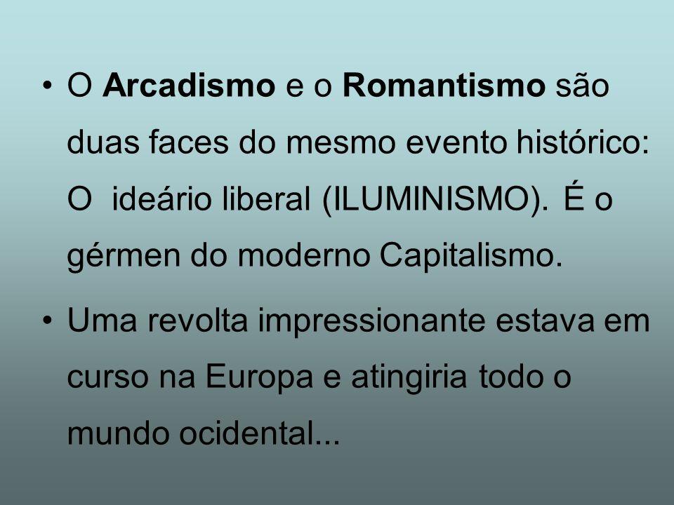 O Arcadismo e o Romantismo são duas faces do mesmo evento histórico: O ideário liberal (ILUMINISMO). É o gérmen do moderno Capitalismo. Uma revolta im