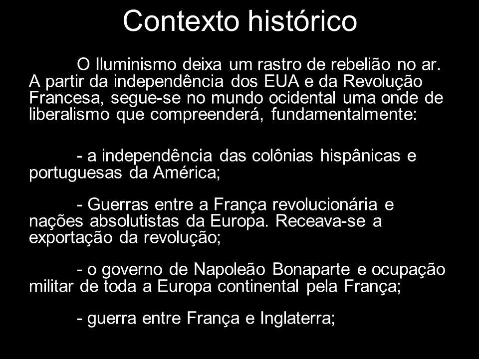 Contexto histórico O Iluminismo deixa um rastro de rebelião no ar. A partir da independência dos EUA e da Revolução Francesa, segue-se no mundo ociden