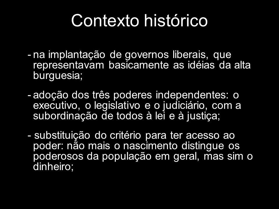 Contexto histórico -na implantação de governos liberais, que representavam basicamente as idéias da alta burguesia; -adoção dos três poderes independe