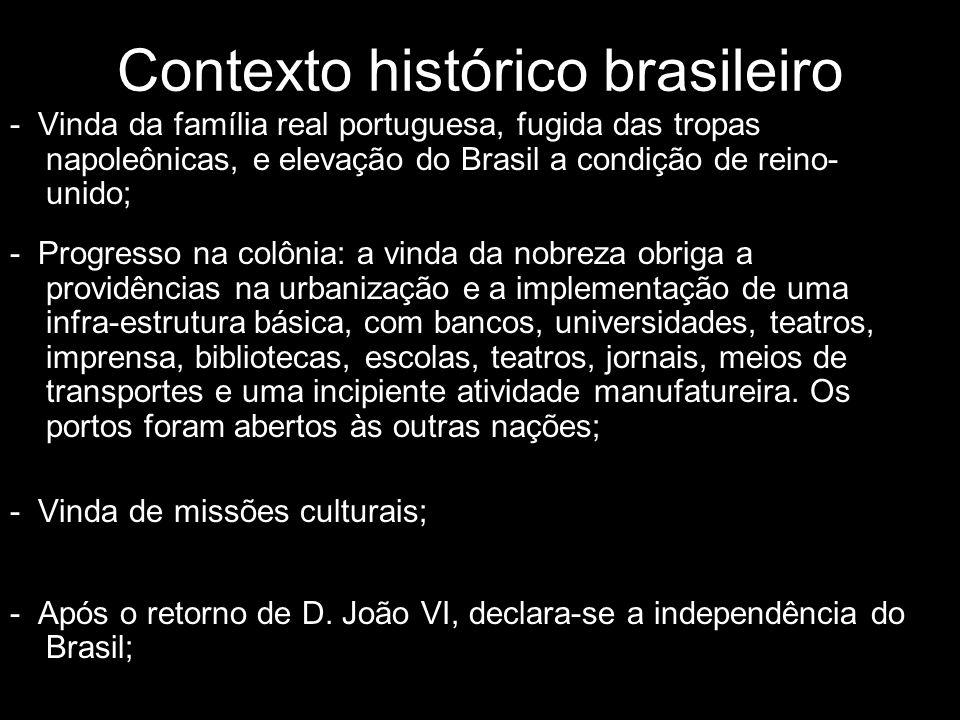 Contexto histórico brasileiro - Vinda da família real portuguesa, fugida das tropas napoleônicas, e elevação do Brasil a condição de reino- unido; - P