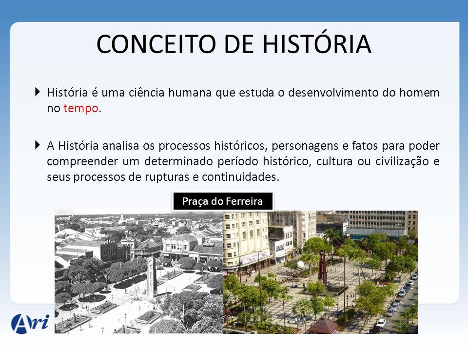 CONCEITO DE HISTÓRIA  História é uma ciência humana que estuda o desenvolvimento do homem no tempo.  A História analisa os processos históricos, per