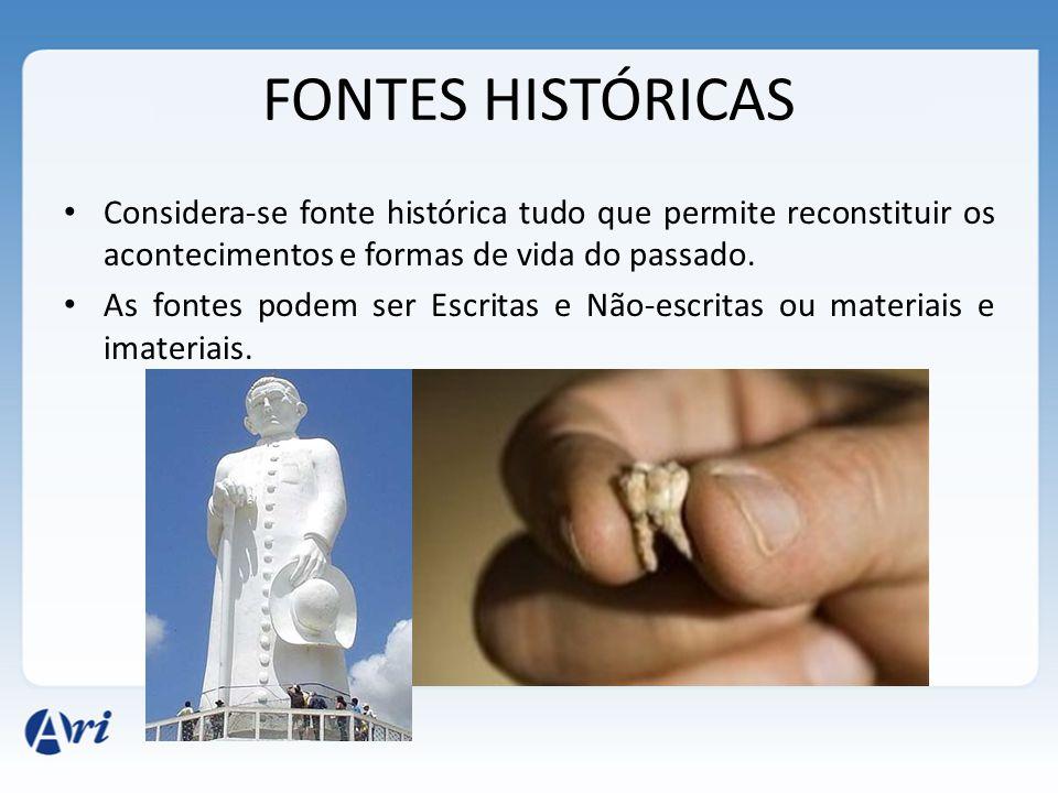 FONTES HISTÓRICAS Considera-se fonte histórica tudo que permite reconstituir os acontecimentos e formas de vida do passado. As fontes podem ser Escrit