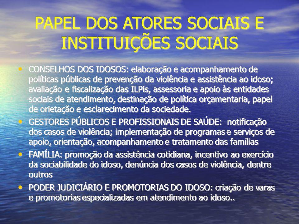 PAPEL DOS ATORES SOCIAIS E INSTITUIÇÕES SOCIAIS CONSELHOS DOS IDOSOS: elaboração e acompanhamento de políticas públicas de prevenção da violência e as