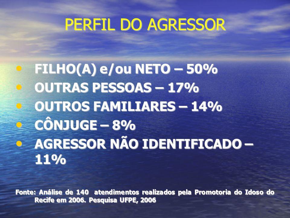 PERFIL DO AGRESSOR FILHO(A) e/ou NETO – 50% FILHO(A) e/ou NETO – 50% OUTRAS PESSOAS – 17% OUTRAS PESSOAS – 17% OUTROS FAMILIARES – 14% OUTROS FAMILIAR
