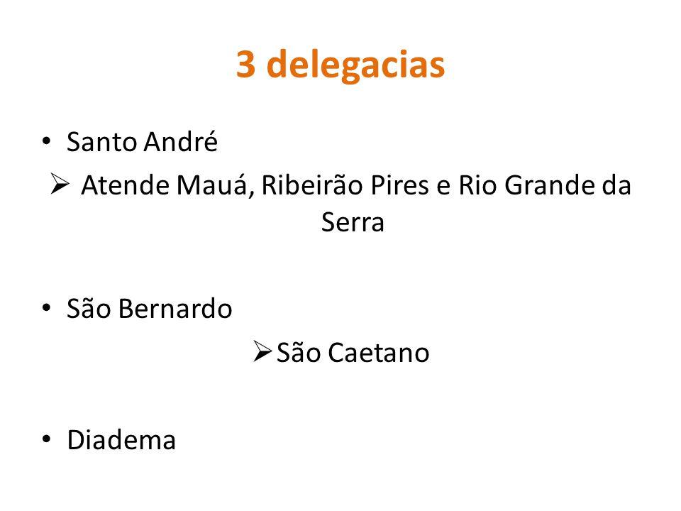 3 delegacias Santo André  Atende Mauá, Ribeirão Pires e Rio Grande da Serra São Bernardo  São Caetano Diadema