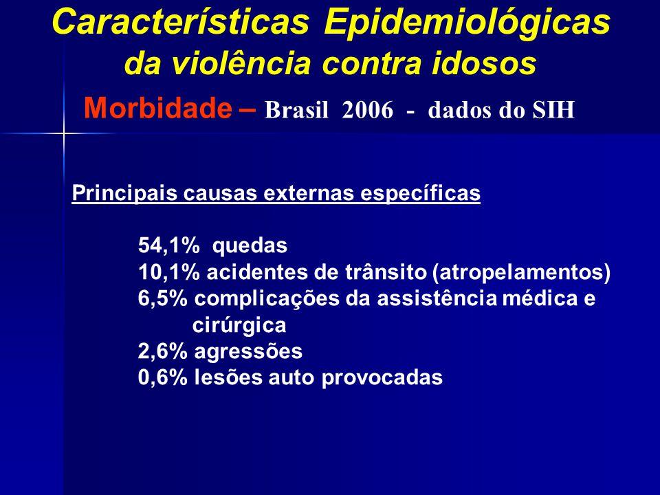 Características Epidemiológicas da violência contra idosos Principais causas externas específicas 54,1% quedas 10,1% acidentes de trânsito (atropelame