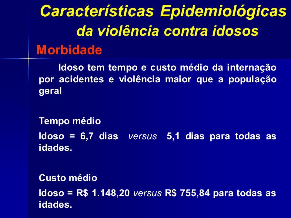 Morbidade Idoso tem tempo e custo médio da internação por acidentes e violência maior que a população geral Tempo médio Idoso = 6,7 dias versus 5,1 di