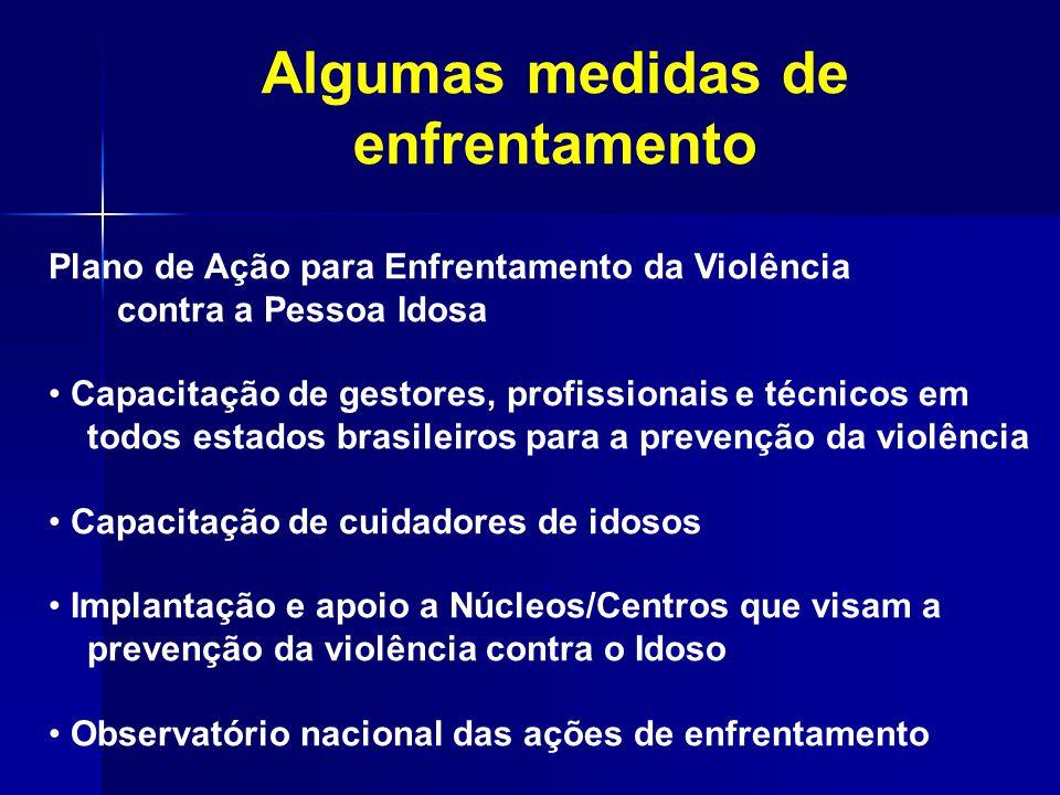 Algumas medidas de enfrentamento Plano de Ação para Enfrentamento da Violência contra a Pessoa Idosa Capacitação de gestores, profissionais e técnicos