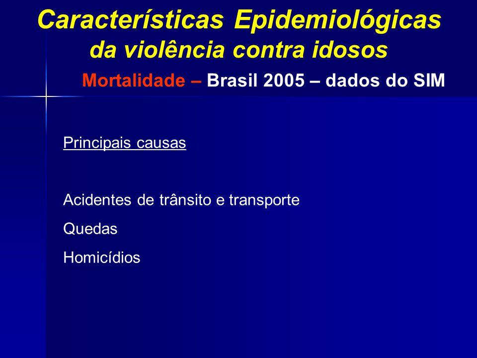Principais causas Acidentes de trânsito e transporte Quedas Homicídios Mortalidade – Brasil 2005 – dados do SIM