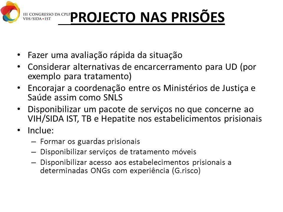 I. PROJECTO NAS PRISÕES Fazer uma avaliação rápida da situação Considerar alternativas de encarcerramento para UD (por exemplo para tratamento) Encora